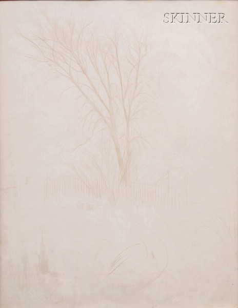 William McGregor Paxton  (American, 1869-1941)      Tree and Fence and Figure Studies/A Double-sided Drawing