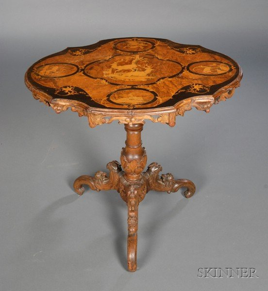 German Black Forest Marquetry-inlaid and Carved Walnut Tilt-top Table