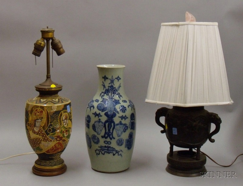 Asian Bronze Urn Table Lamp, Chinese Export Porcelain Vase, and a Japanese Satsuma Vase Table Lamp.