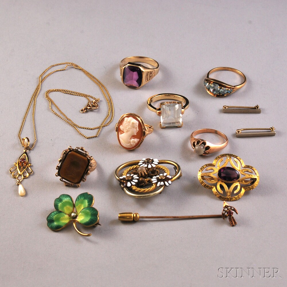 Small Group of Mostly Gold Gem-set Jewelry