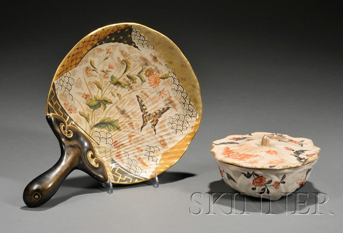 E. Galle (1846-1904) Covered Pottery Bowl and Dish