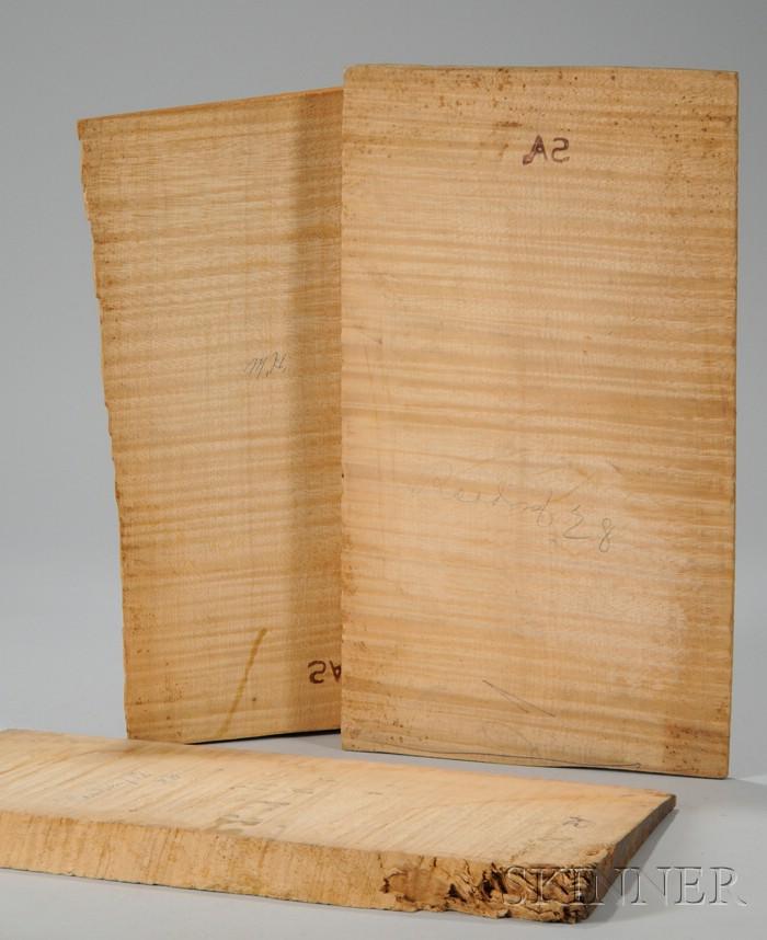 Three One-Piece Quartersawn Maple Violin Backs, c. 1950