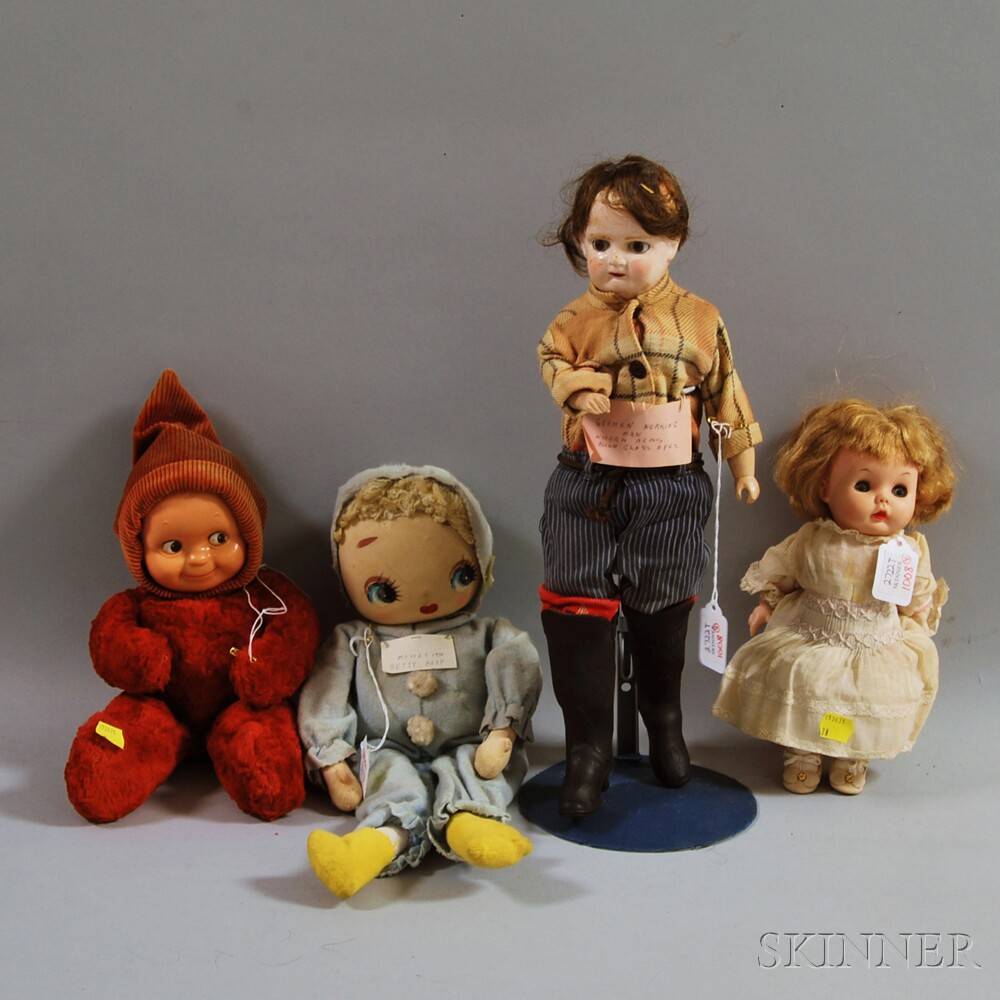 Four Composition and Cloth Dolls