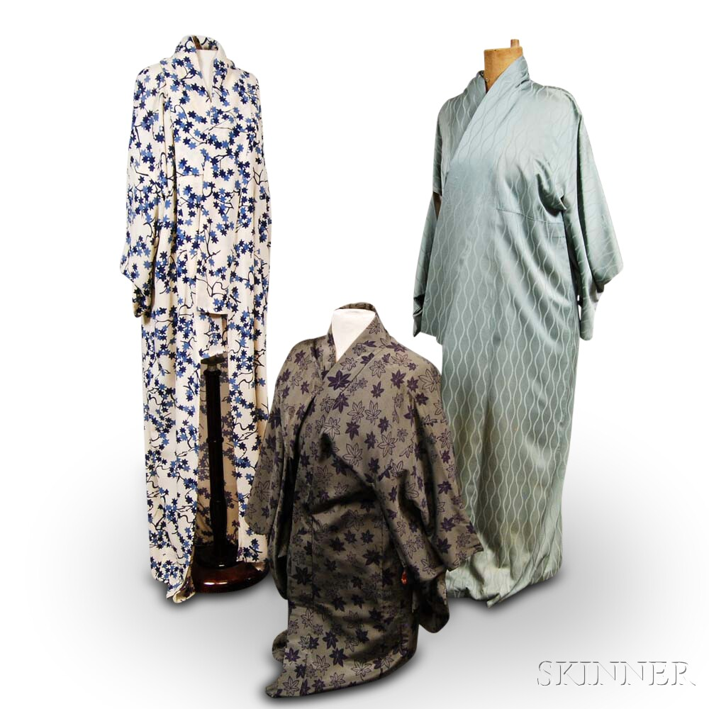 Three Japanese Silk Kimonos