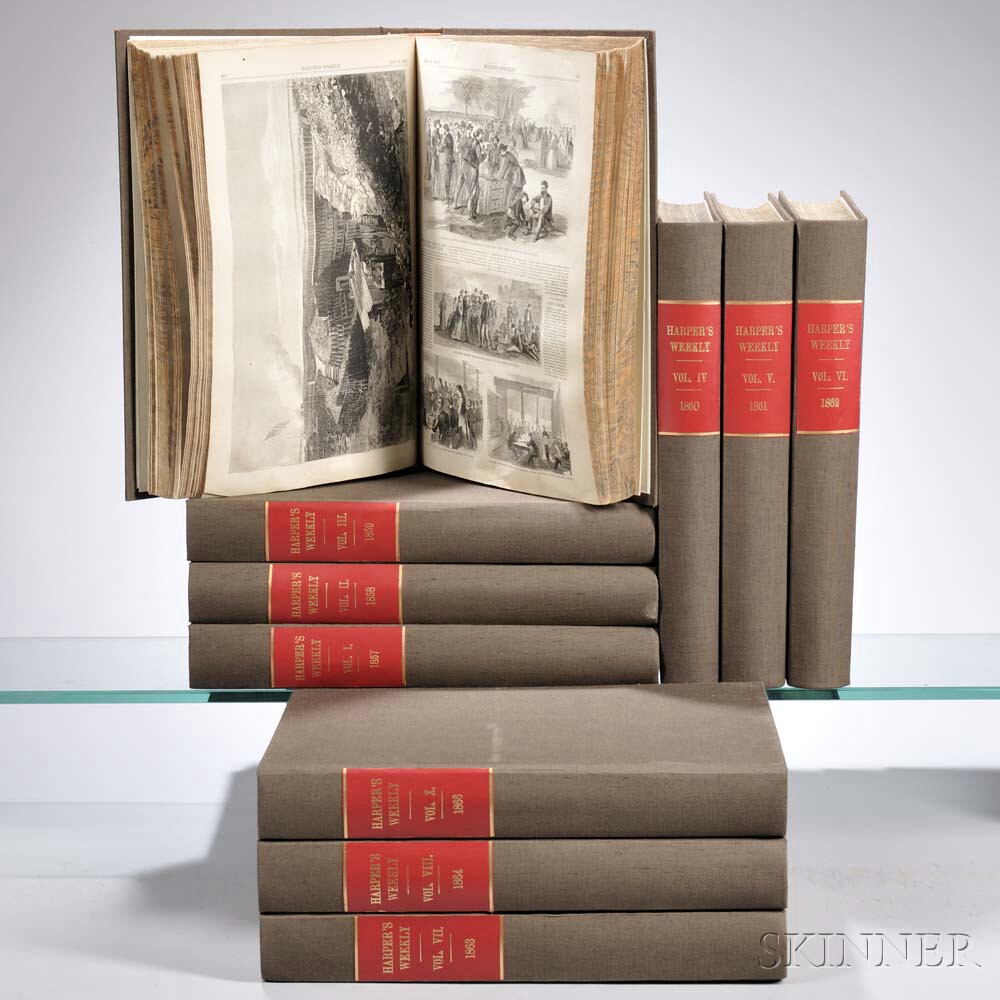 Harper's Weekly, a Journal of Civilization,   Volumes 1-10.