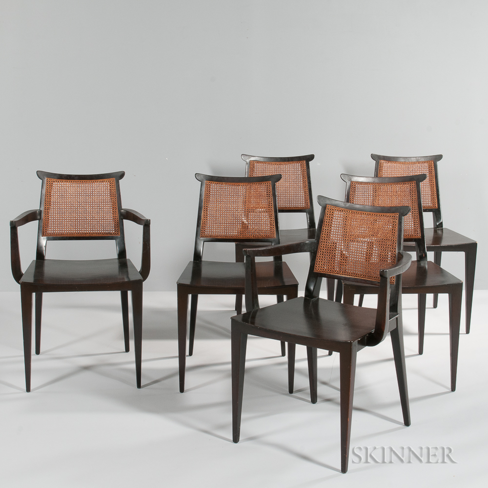 Six edward wormley for dunbar asian style dining chairs for Asian chairs for sale