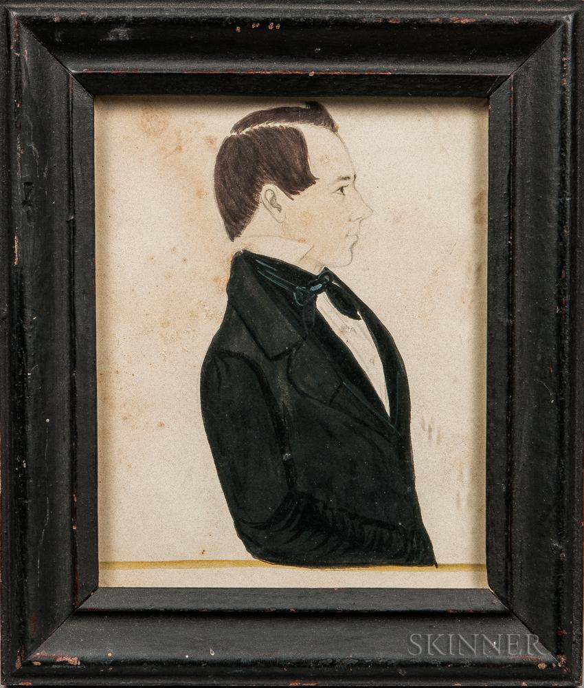 Jane A. Davis (Connecticut/Rhode Island, 1821-1855)      Profile Portrait of a Gentleman in a Black Jacket