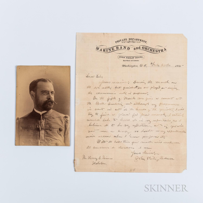Sousa, John Philip (1854-1932) Autograph Letter Signed, Washington, DC, 20 February 1885, and Photograph
