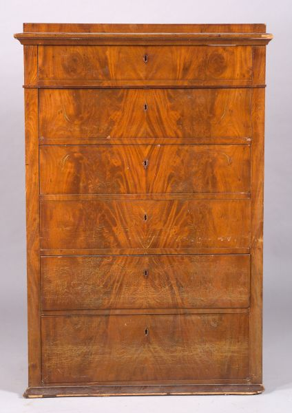 Continental Empire Mahogany Six-Drawer Tall Chest