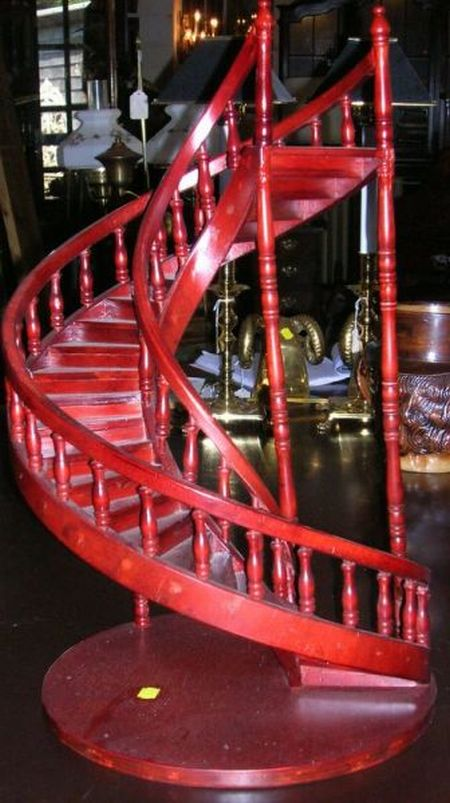 Decorative Miniature Red Stained Wooden Spiral Staircase