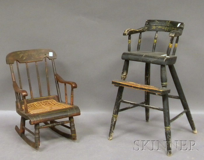 Childs Windsor Paint-decorated Wood High Chair and Armrocker with Caned Seat.