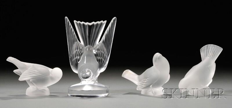 Four Lalique Birds