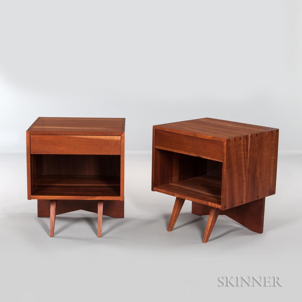 Pair of George Nakashima (1905-1990) Walnut End Tables