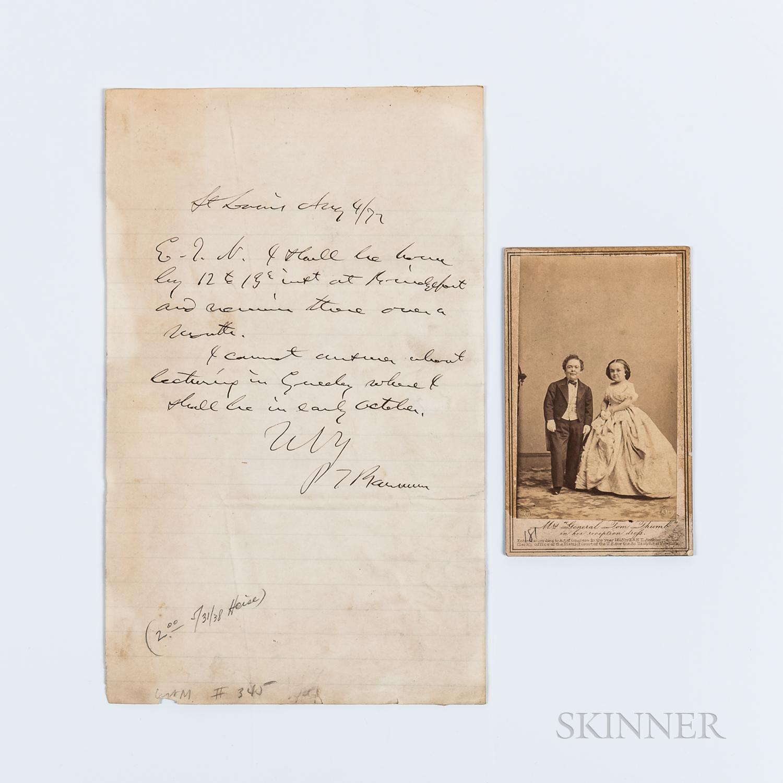 Barnum, P.T. (1810-1891) Autograph Letter Signed, St. Louis, Missouri, 4 August 1877, and Brady Carte-de-visite of Mr. & Mrs. Tom Thumb