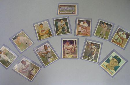 Thirteen 1957 Topps Baseball Cards