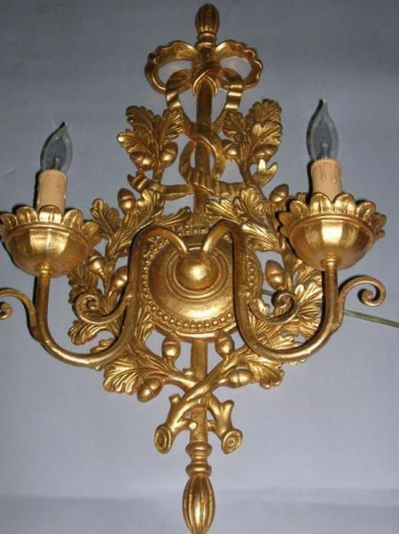 Pair of Classical-style Carved Giltwood Two-Light Wall Sconces