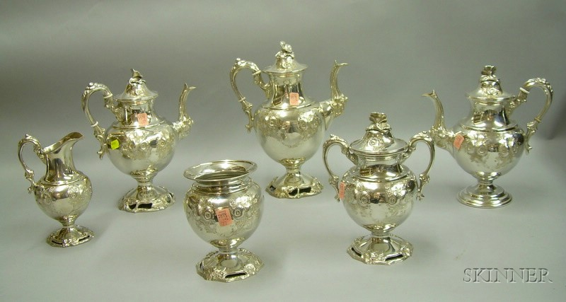 Six-piece Rococo-style Silver Plated Tea and Coffee Service.