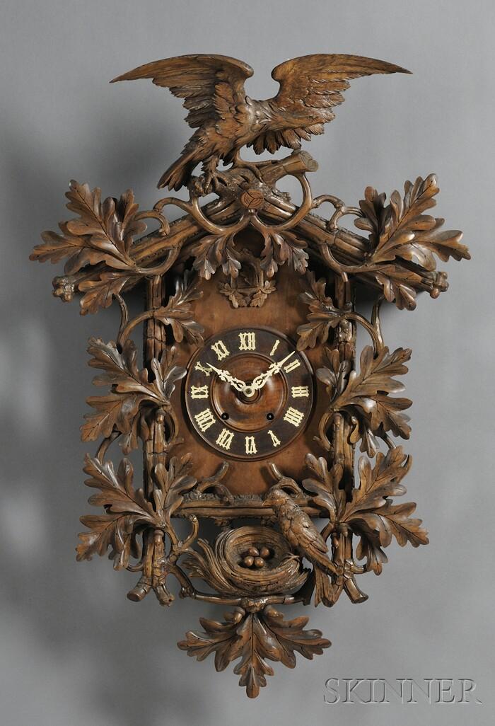 Carved Walnut Black Forest Cuckoo Clock
