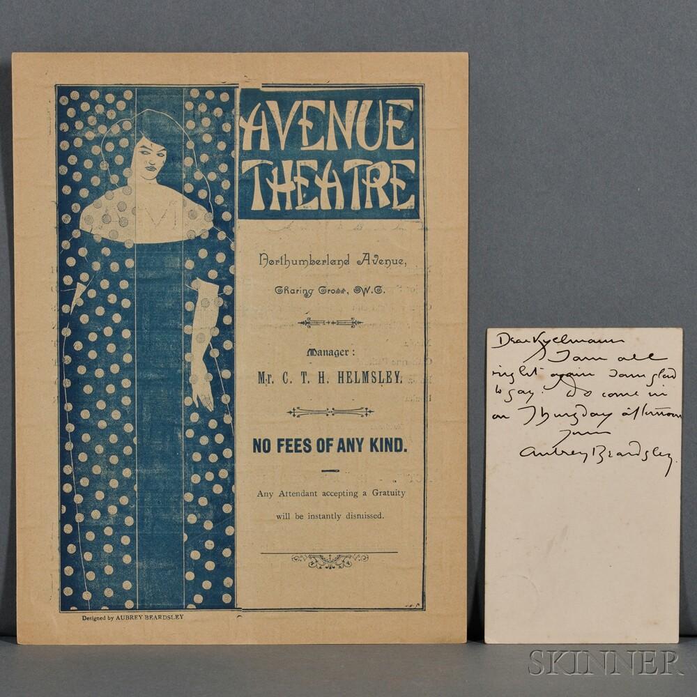 Beardsley, Aubrey (1872-1898) Autograph Postcard Signed and Program.
