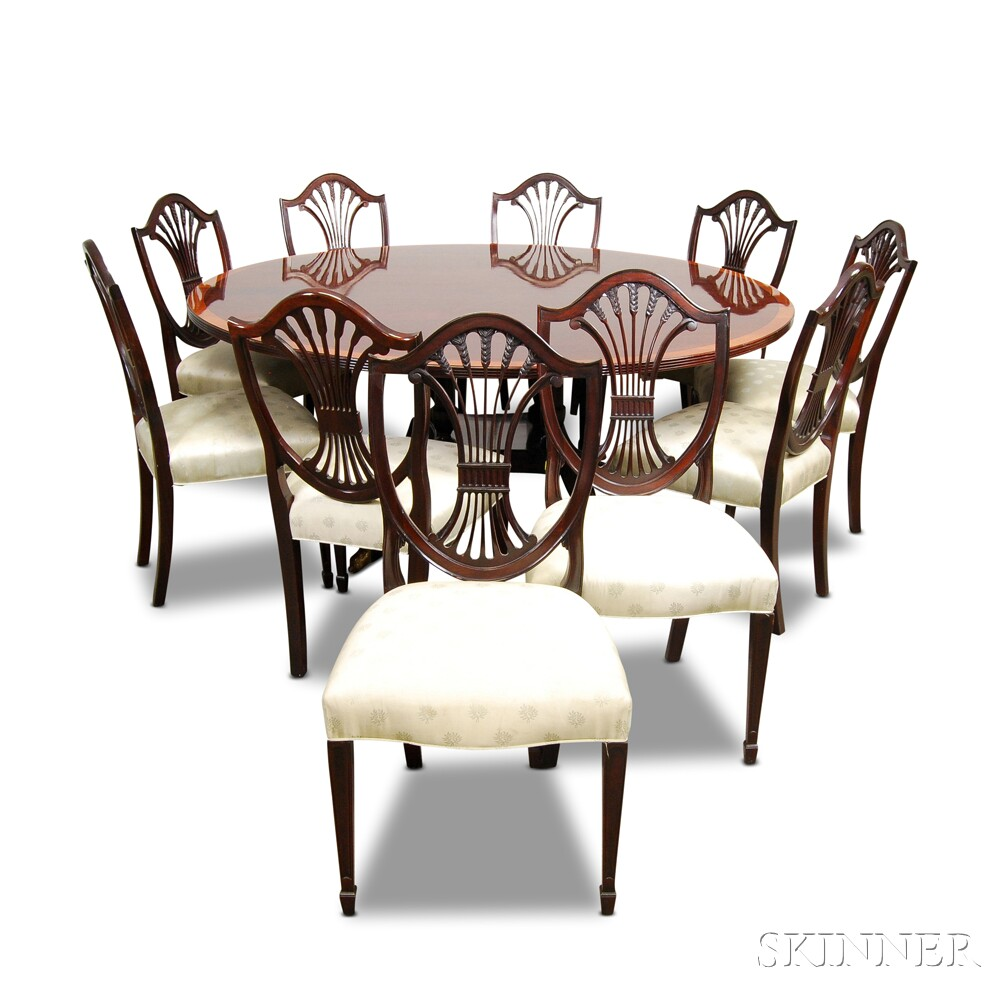 Stickley Federal Style Gany Dining Table And Ten Shield Back Chairs