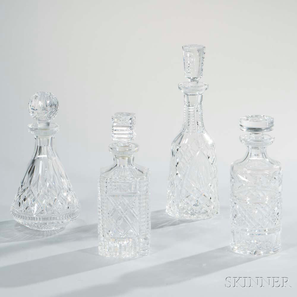 Four Waterford Crystal Decanters