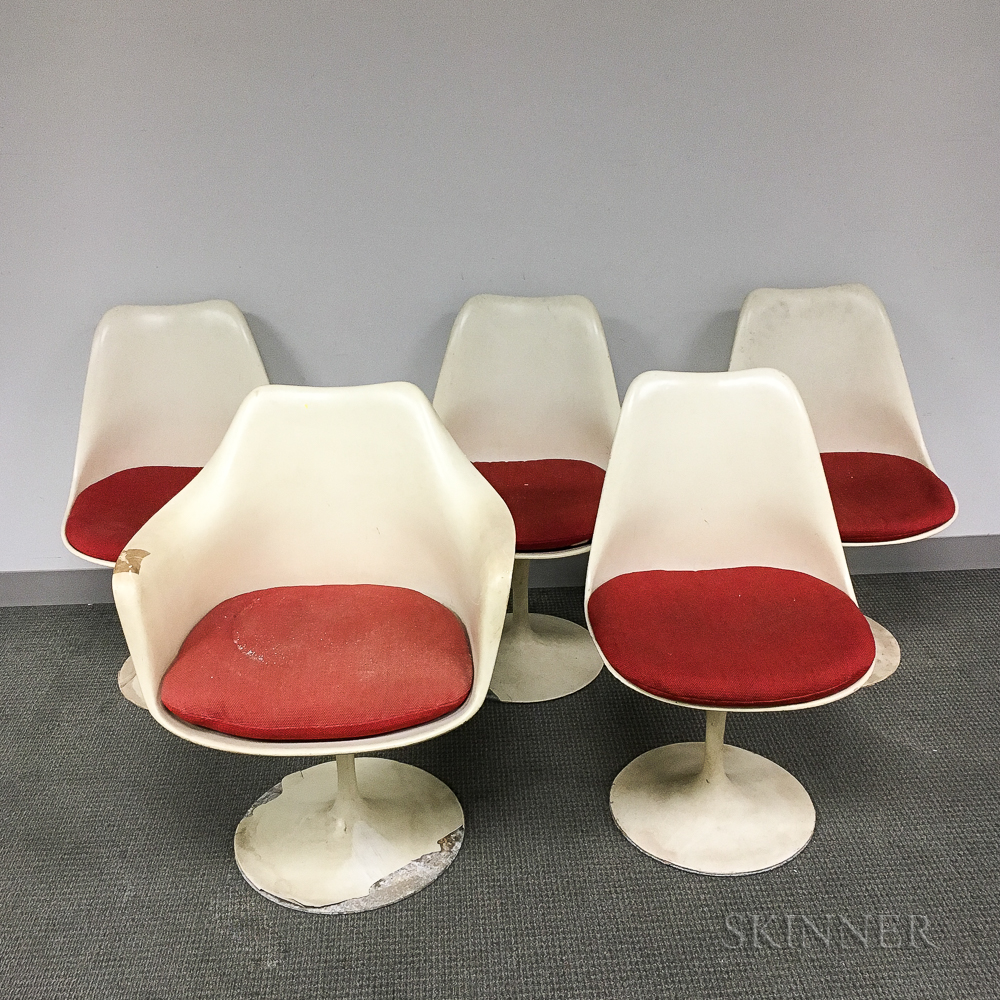 Eero Saarinen for Knoll Tulip Armchair and Four Side Chairs.
