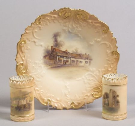 Three Handpainted Worcester Porcelain Items