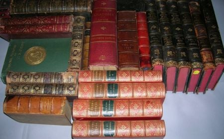 Collection of Approximately Thirty-four Decorative Leather and Cloth-bound Library Books