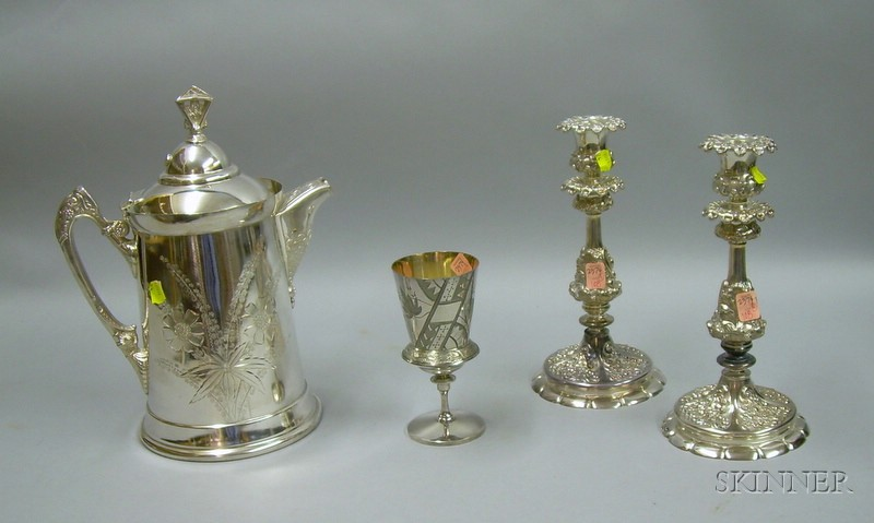 Meads & Robbins Aesthetic Silver Plated Ice Water Pitcher and Goblet, and a Pair of   Wilcox Silver Plated Candlesticks