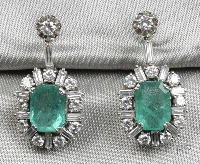Platinum, Emerald, and Diamond Earpendants