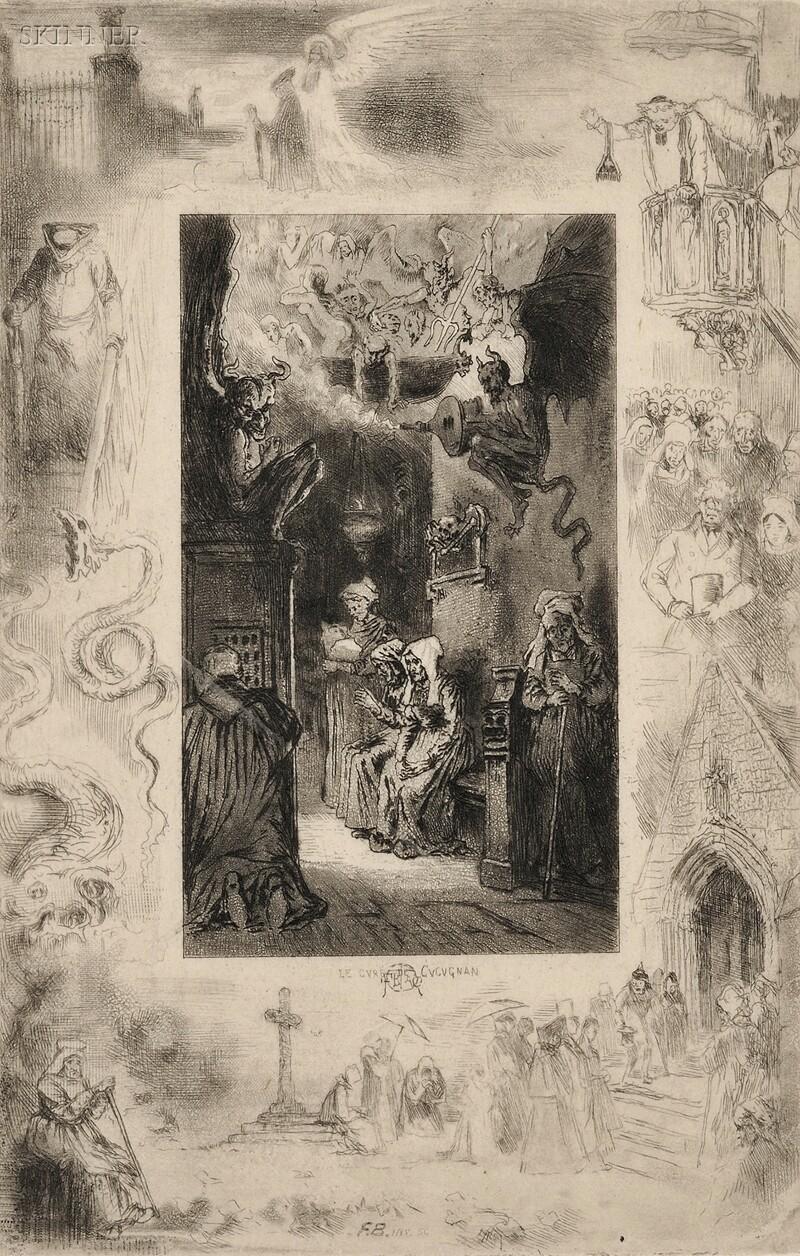 Félix Hilaire Buhot (French, 1847-1898)      Le Curé de Cucugnan