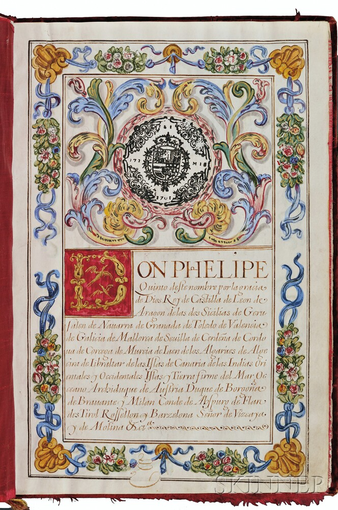 Philip V, King of Spain (1683-1746) Manuscript on Parchment, Carta Executoria de Hildalguia, 5 August 1701.