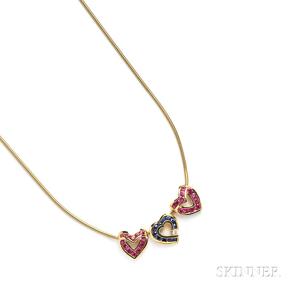 18kt Gold Gem-set Necklace, Charles Krypell
