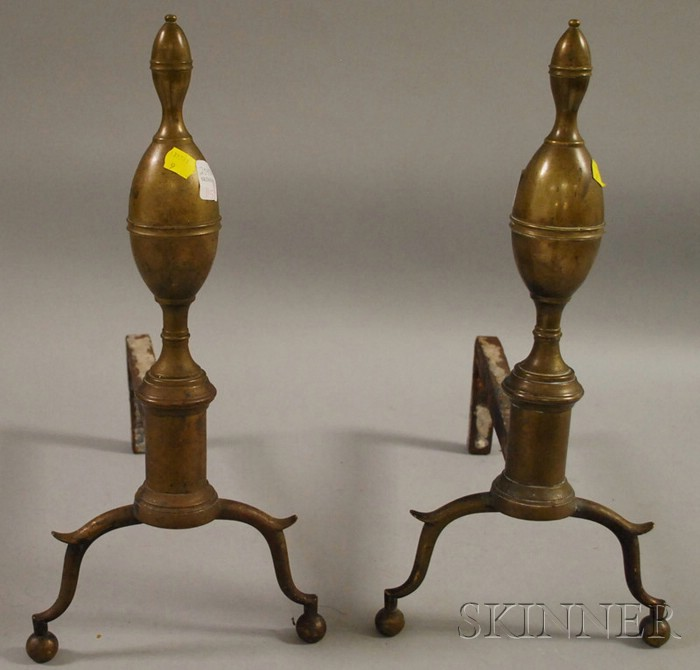 Pair of Brass Belted Double Lemon-top Andirons