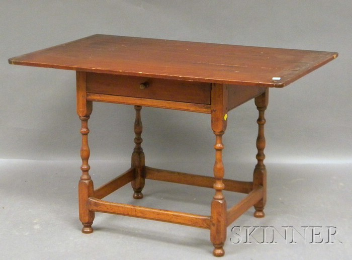Pine Breadboard-top Maple Tavern Table with Drawer.