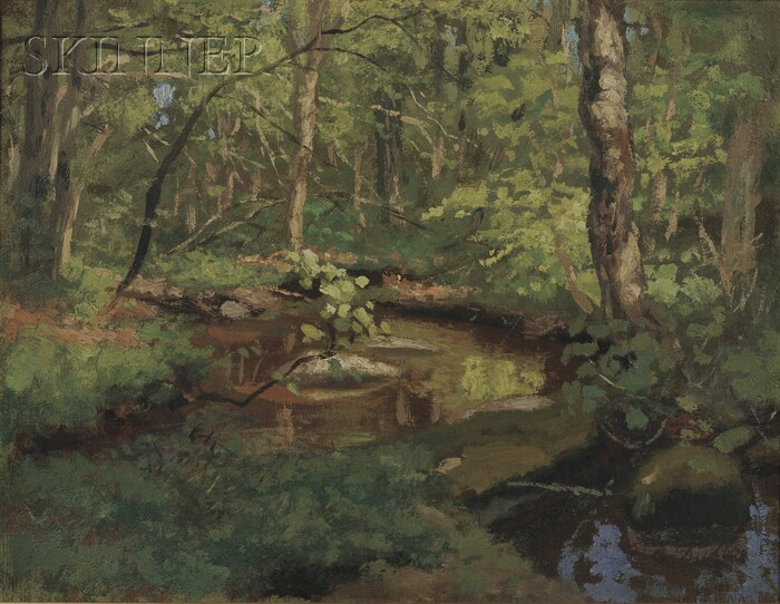 Marcus A. (Mark) Waterman  (American, 1834-1914)      View of a Stream by Shady Banks