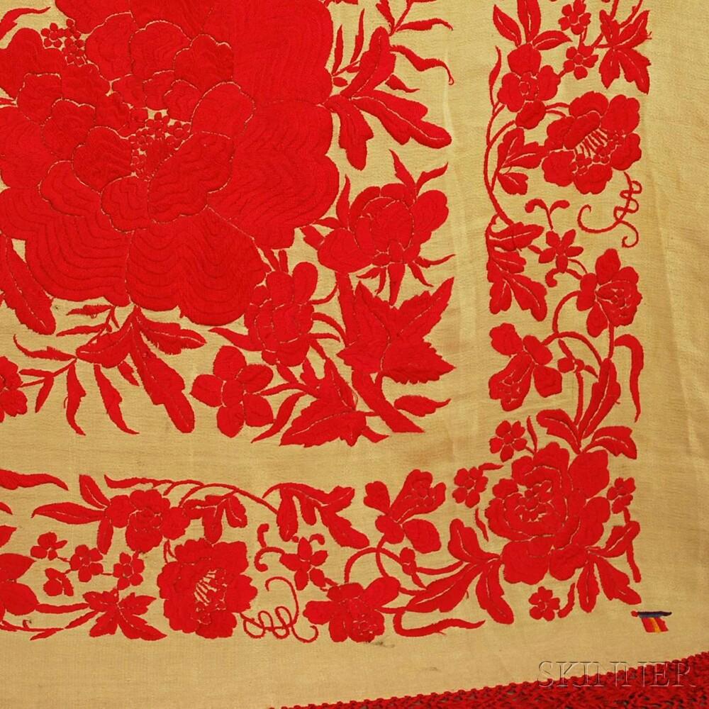 Three Fringed Silk Embroidered Shawls