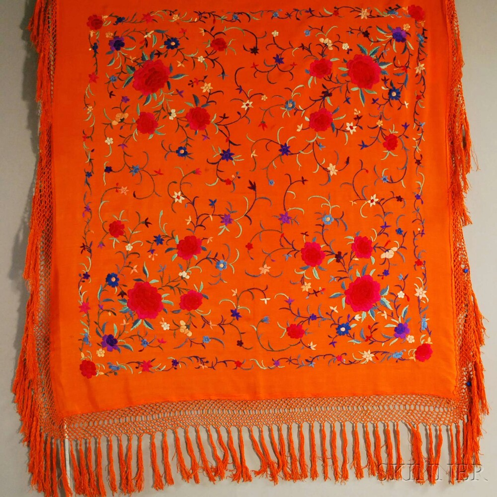 Three Fringed Silk Embroidered Shawls