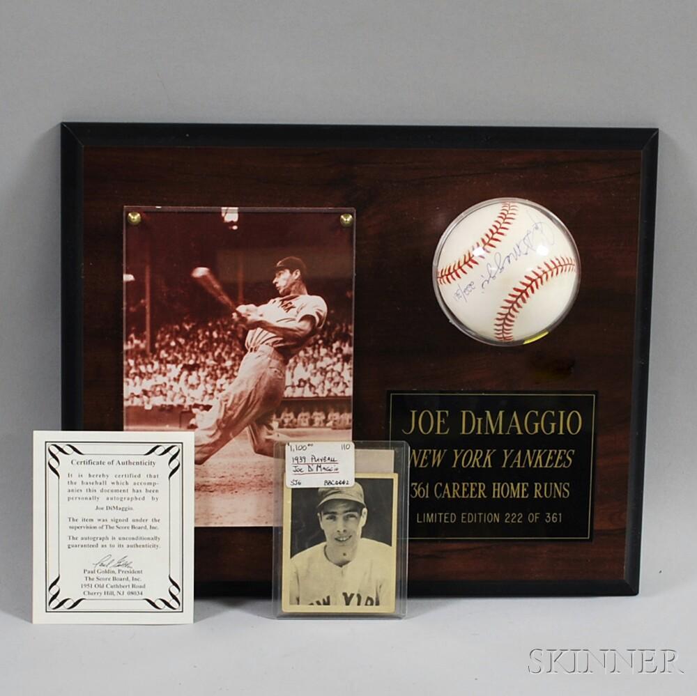 1939 Play Ball 26 Joe Dimaggio Baseball Card And A Signed Baseball