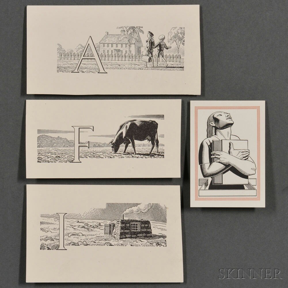 Kent, Rockwell (1882-1971) Bookplate and Three Proofs of Illustrated Initials.