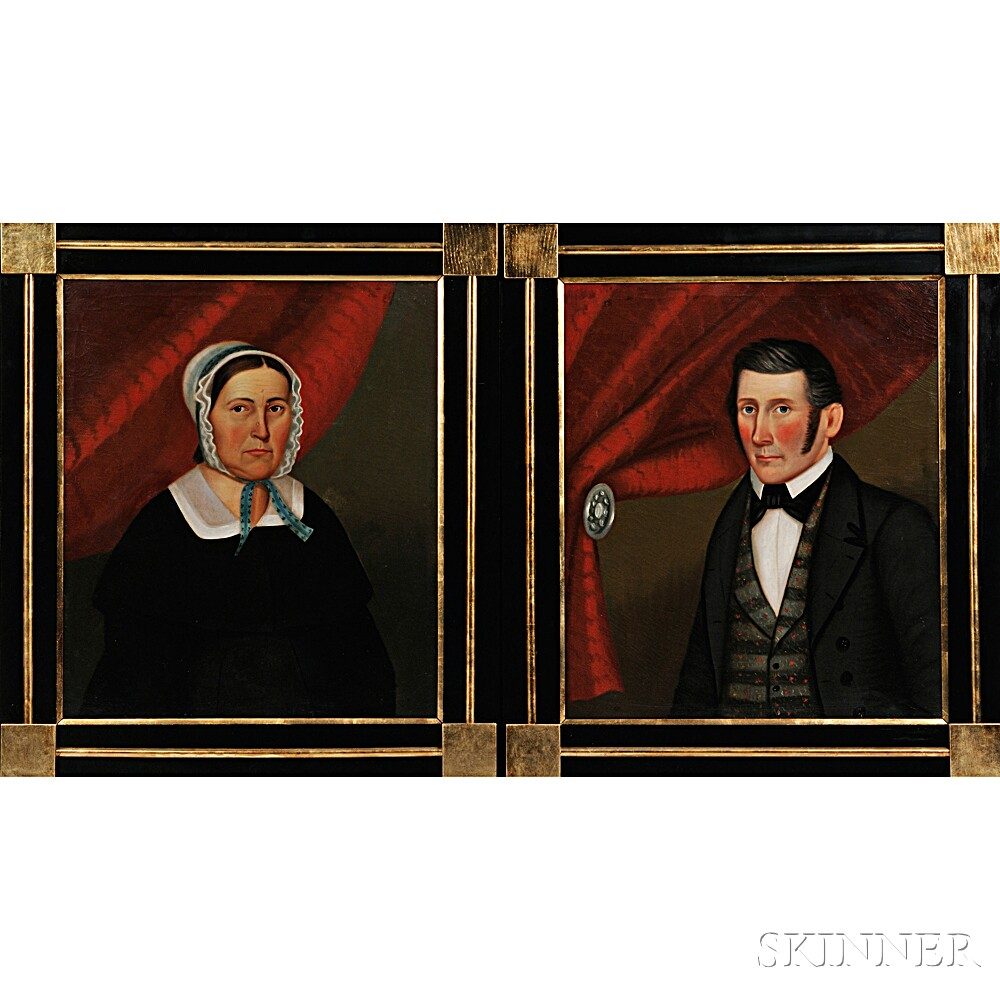 Horace Bundy (Vermont/New Hampshire, 1814-1883)      Portraits of Mr. and Mrs. Abel Brown