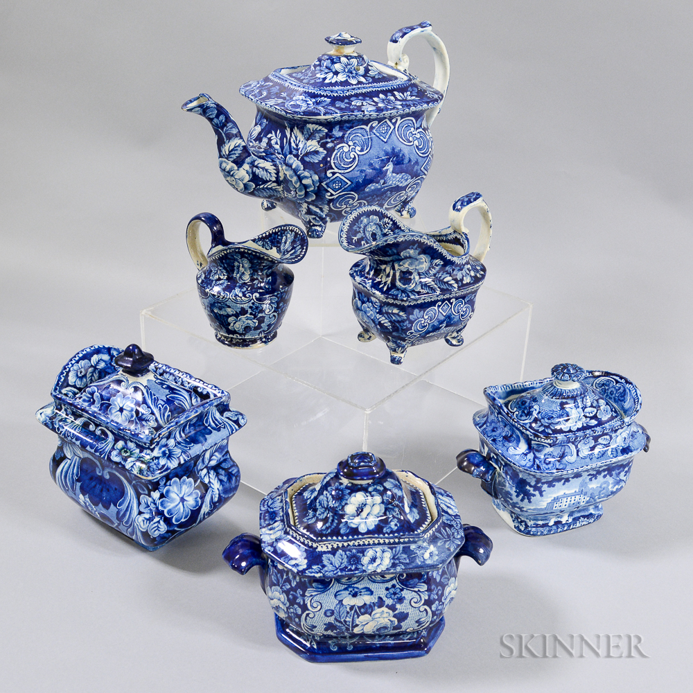 Six Staffordshire Blue and White Transfer-decorated Tableware Items