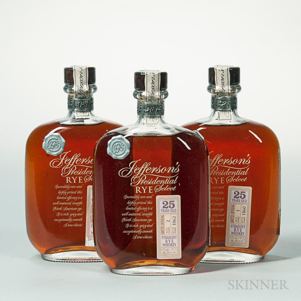 Jeffersons Presidential Select Rye 25 Years Old, 3 750ml bottles