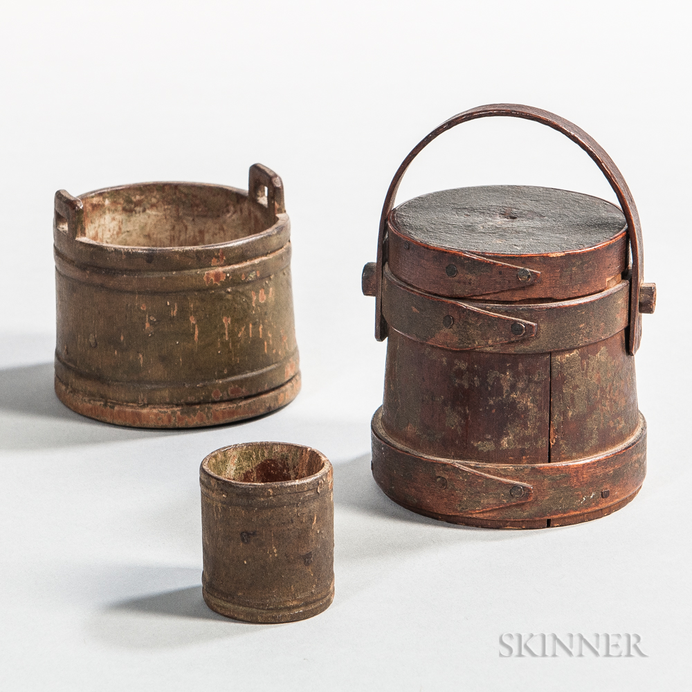 Miniature Painted Lidded Pail and Two Buckets