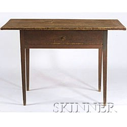 Red-Stained Pine and Maple Table,