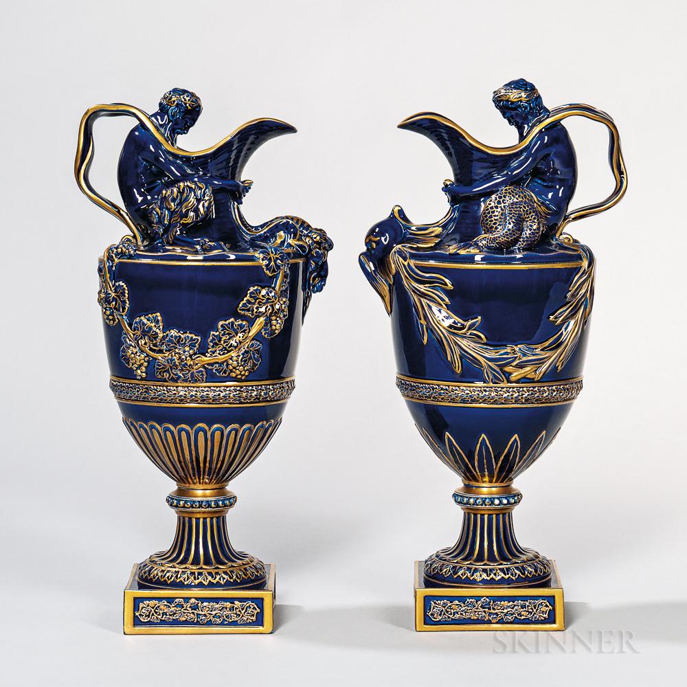 Pair of Wedgwood Blue-glazed Majolica Wine and Water Ewers