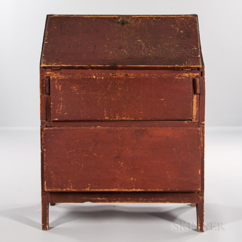 Primitive Red-painted Pine Slant-lid Desk