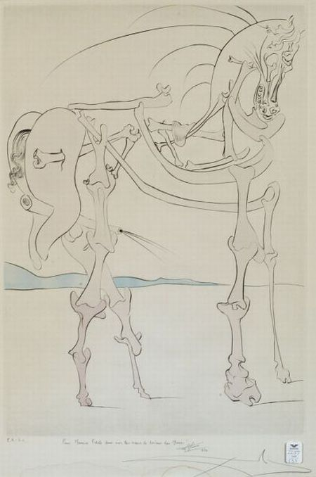 Attributed to Salvador Dali (Spanish, 1904-1989)  Lot of Two Prints: Plate Five from QUEVEDOS VISIONER