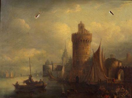 Attributed to Patrick Nasmyth (British, 1787-1831)    Animated Harbor View