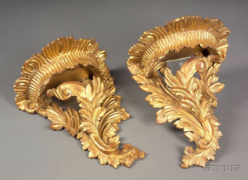 Pair of Italian Rococo Style Giltwood Wall Brackets